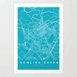 Bowling Green Map Kentucky | Aqua | More Colors, Review My Collections Art Print