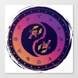 Cancer Fourth Zodiac Sign Yin Yang Canvas Print
