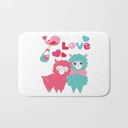 Llama and Llama in Love Bath Mat
