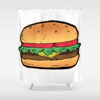 burger Shower Curtains featuring Burger by CGREDNECK