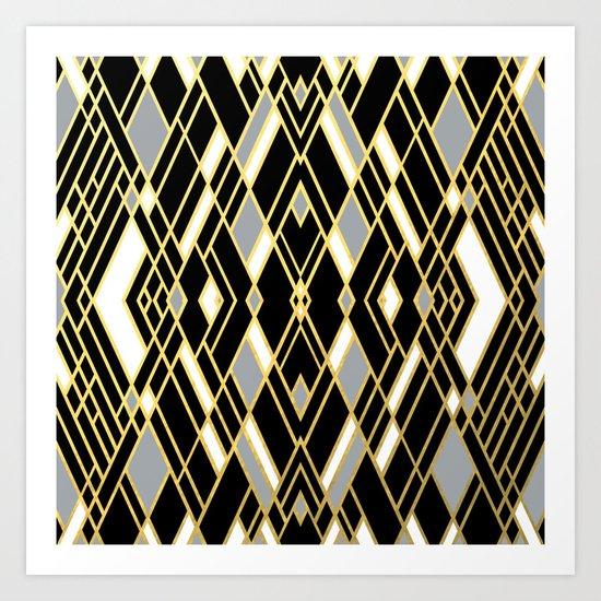 Art Deco Grey Gold Art Print