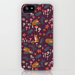 Fox and Hedgehog in Toadstool Wood In Red iPhone Case