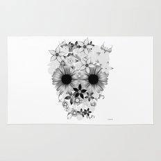 Skull Flowers grey - white Rug