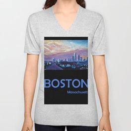 Retro Travel Poster Boston Massachusetts Unisex V-Neck