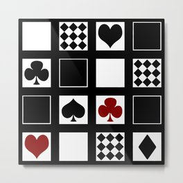 Casino, playing cards, suits of hearts, crosses, clubs Metal Print