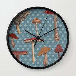 Mushroom Madness in Blue Wall Clock