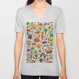 Monster Halloween Candy Bots in Orange, Green, & Purple  // Fall Holiday Themed Candy Robots Unisex V-Neck