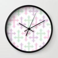 pastel goth Wall Clocks featuring Pastel Goth by Glitterati Grunge