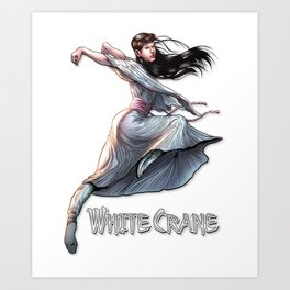 White Crane Comic Kung Fu Girl tshirt cute martial arts gift Art Print
