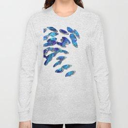 Blue And White Modern Art - Falling 2 - Sharon Cummings Long Sleeve T-shirt
