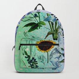 Botanical Study #2, Vintage Botanical Illustration Collage Art Backpack