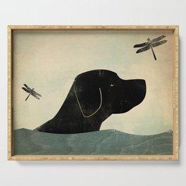 Black Lab Swim Dog Serving Tray