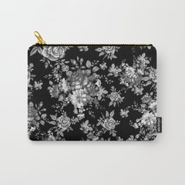 Black And White Floral Pattern Carry-All Pouch