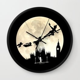 Peter Pan FullMoon Over London Wall Clock