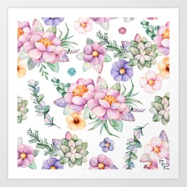 Pastel pink lavender green watercolor hand painted floral Art Print