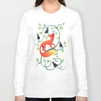 bunnies Long Sleeve T-shirts featuring Bunnies and a Fox by Freeminds
