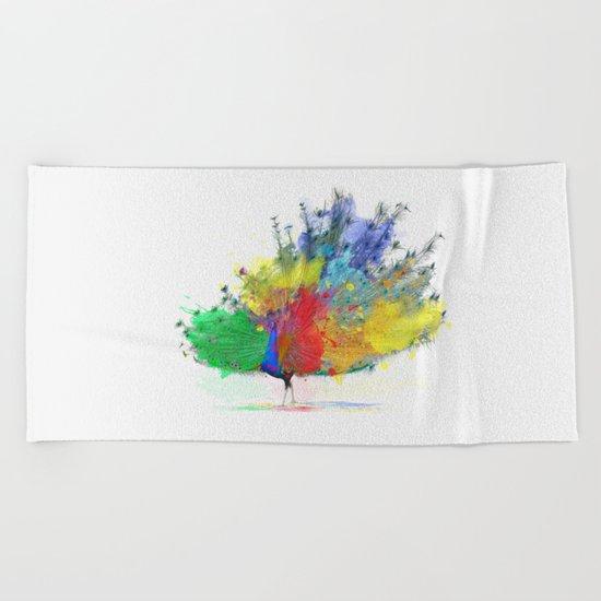 Peacock Colorful Beach Towel