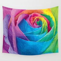 rose Wall Tapestries featuring Rose  by Aloke Design
