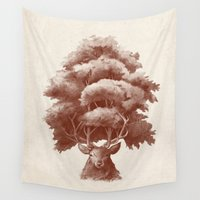 thrones Wall Tapestries featuring Old Growth  by Terry Fan