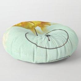 unicycle goldfish Floor Pillow