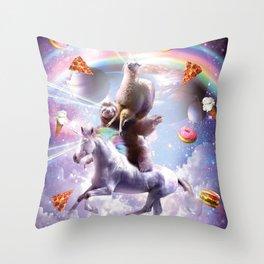 Laser Eyes Space Llama On Sloth Unicorn - Rainbow Throw Pillow