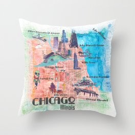 Chicago Illinois USA Illustrated Map with Main Roads Landmarks and Highlights Throw Pillow