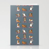 english bulldog Stationery Cards featuring English Bulldog Yoga by Huebucket