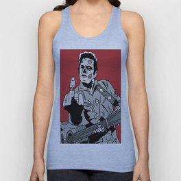 Johnny Cash Zombie Portrait Giving the Finger Print Unisex Tank Top