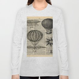 newspaper print victorian steampunk airship plane hot air balloon Long Sleeve T-shirt