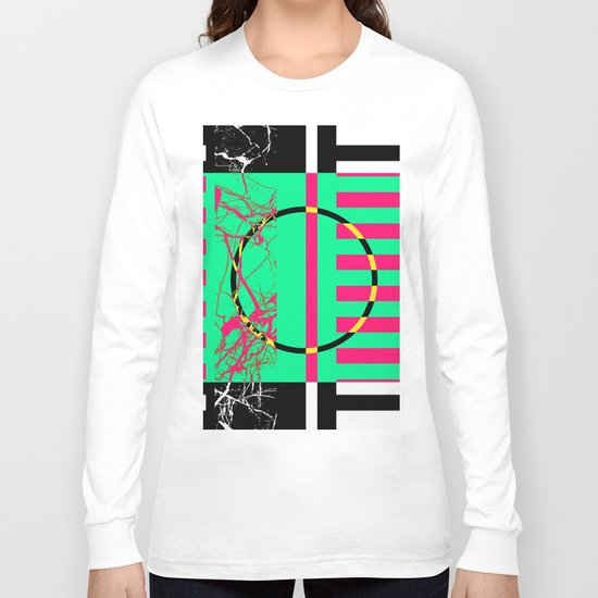 Retro Marble 1 - Abstract, marble, retro, black and white artwork Long Sleeve T-shirt