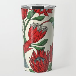 Protea with Hummingbird / Sunbird (Cream) Travel Mug