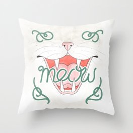 Cat's Meow // Illustration of Smiling Cat with Calligraphy Throw Pillow