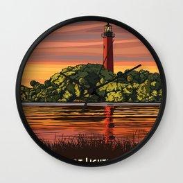 Vintage Poster - Jupiter Inlet Lighthouse Outstanding Natural Area, Florida (2015) Wall Clock
