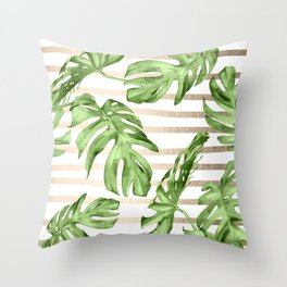 Simply Tropical White Gold Sands Stripes and Palm Leaves Throw Pillow