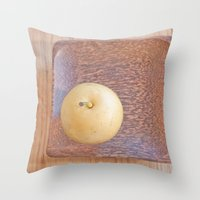 asian Throw Pillows featuring Asian Pear by Lyssia Merrifield