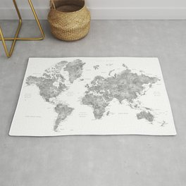 Grayscale watercolor world map with cities Rug