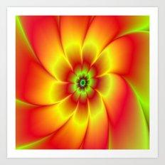 Red Yellow Green and Orange Flower Art Print
