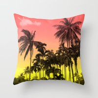 tropical Throw Pillows featuring palm tree  by mark ashkenazi