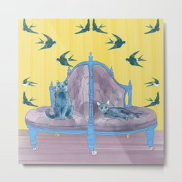 animals in chairs #2 Two Cats Metal Print