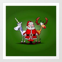 Santa Claus, his reindeer and a unicorn Art Print