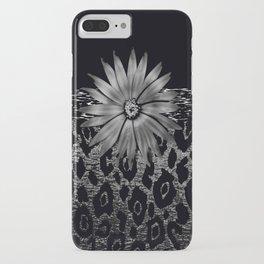 Animal Print Leopard Glam Flower Silver and Black Diamond iPhone Case