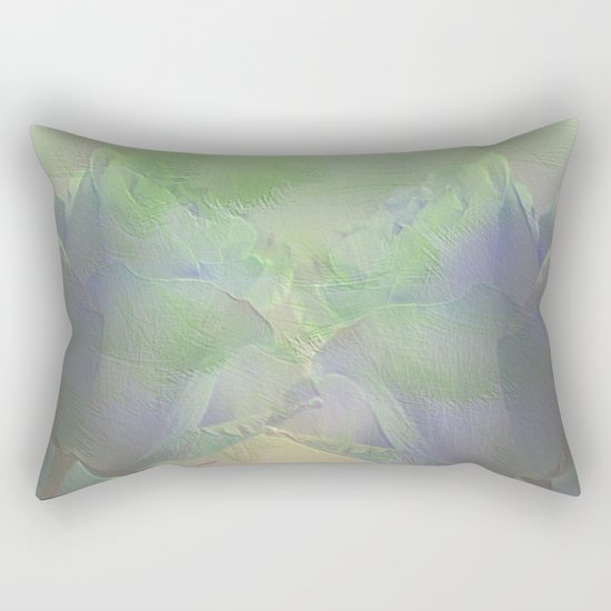 Painterly Mint Green and Lavender Roses Abstract Rectangular Pillow