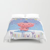 piglet Duvet Covers featuring Happy New Year piglet by MyMoonart