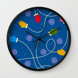 Christmas Holiday Colorful Winter Mittens Pattern Wall Clock