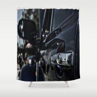 volkswagen Shower Curtains featuring volkswagen turtle by gzm_guvenc