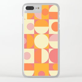 Thoroughly Modern Pink And Orange Geometric Design Clear iPhone Case