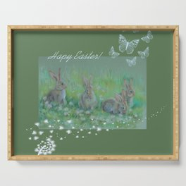 Easter bunnies on the meadow Serving Tray