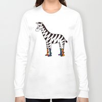 socks Long Sleeve T-shirts featuring Zebra Socks by Kendra Blinde