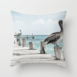 Seabirds on a Pier Throw Pillow