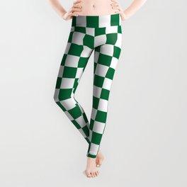 White and Cadmium Green Checkerboard Leggings